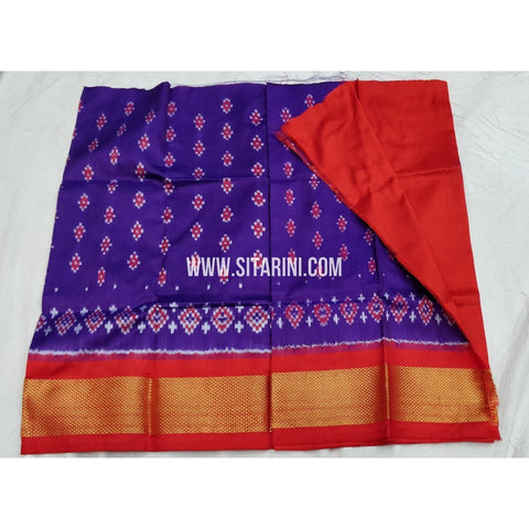 Ikkat Pattu Lehenga For Kids-Purple and Orange-0 to 3 years-Sitarini-SITKIL112