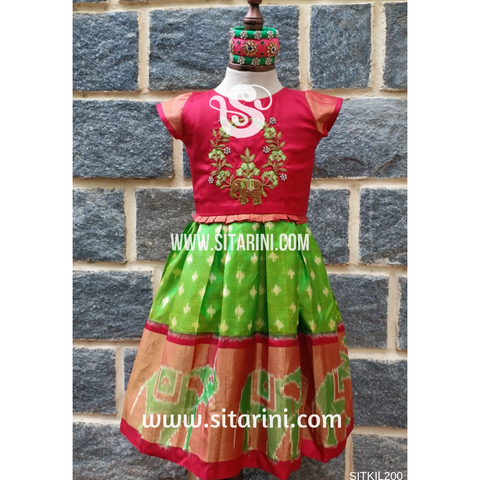 Ikkat Pattu Lehenga for Kids-Red and Green-0 to 3 years-Sitarini-SITKIL200