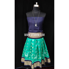 Ikkat Pattu Lehenga for Kids-Seagreen and navyblue-0 to 3 years-Sitarini-SITKIL186