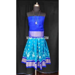 Ikkat Pattu Lehenga for Kids-Skyblue and Blue-0 to 3 years-Sitarini-SITKIL196