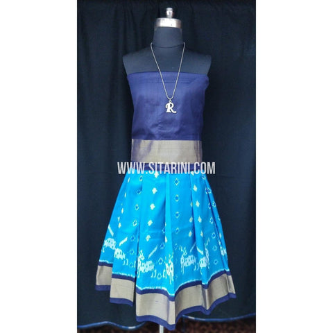 Ikkat Pattu Lehenga for Kids-Skyblue and Navyblue-0 to 3 years-Sitarini-SITKIL193