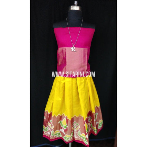 Ikkat Pattu Lehenga for Kids-Yellow and Pink-0 to 3 years-Sitarini-SITKIL189