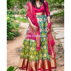 Ikkat Pattu Lehenga-Green and Magenta-Sitarini-PRHIPL242