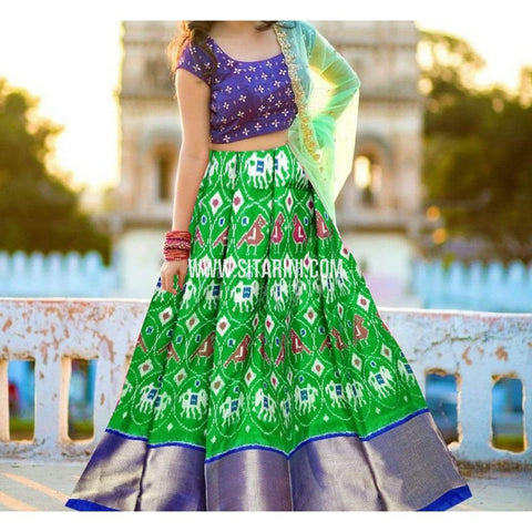 Ikkat Pattu Lehenga-Green and Royal Blue-Sitarini-PRHIPL235