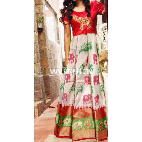 Ikkat Pattu Lehenga-Half White and Red-Sitarini-PRHIPL224