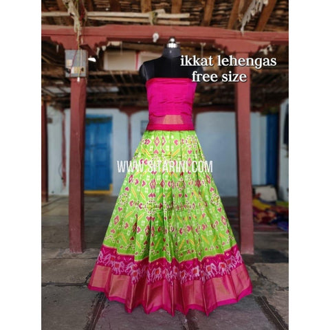 Ikkat Pattu Lehenga-Lightgreen and Pink-Sitarini-SITEIL297