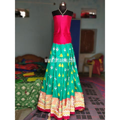 Ikkat Pattu Lehenga-Magenta and Sea Green-Sitarini-PRHIPL154