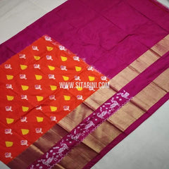 Ikkat Pattu Lehenga-Orange-Sitarini-SITEIL754
