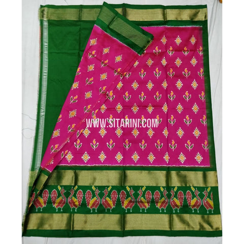 Ikkat Pattu Lehenga-Pink And Green-Sitarini-SITEIL329