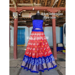 Ikkat Pattu Lehenga-Red and Blue-Sitarini-SITEIL304