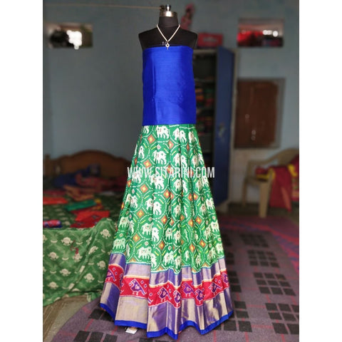 Ikkat Pattu Lehenga-Royal Blue and Light Green-Sitarini-PRHIPL149
