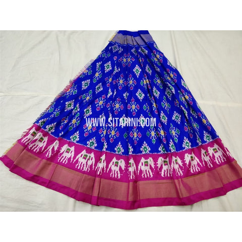 Ikkat Pattu Lehenga-Royal Blue and Magenta-PSHIPL253