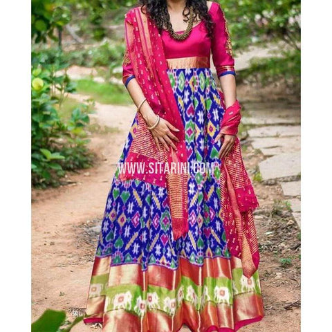 Ikkat Pattu Lehenga-Royal Blue and Magenta-Sitarini-PRHIPL233