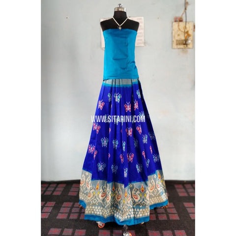 Ikkat Pattu Lehenga-Sky Blue and Royal Blue-Sitarini-PRHIPL148