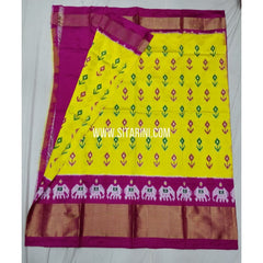 Ikkat Pattu Lehenga-Yellow And Pink-Sitarini-SITEIL307