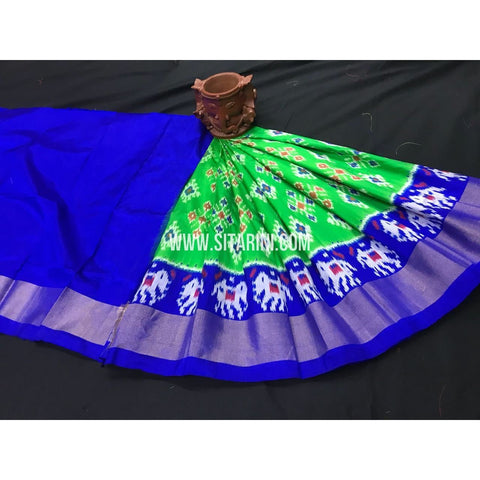 Ikkat Pattu Lehengas-Blue and Green-0 to 3 Years-PGMHIPLK244