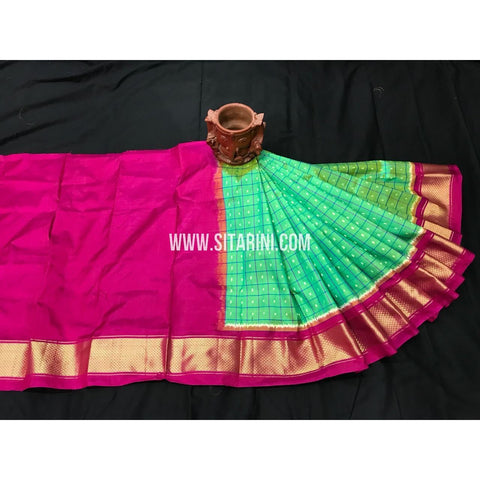 Ikkat Pattu Lehengas-Pink and Green-0 to 3 Years-PGMHIPLK250