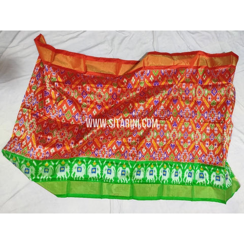 Ikkat Pattu Lehengas-Red and Light Green-3 to 8 Years-PPBIPLM104