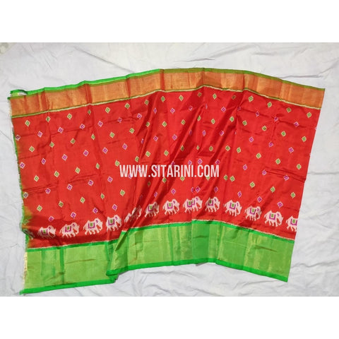 Ikkat Pattu Lehengas-Red and Light Green-3 to 8 Years-PPBIPLM107