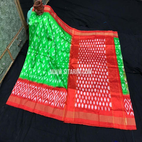 Ikkat Pattu Light Weight Saree-Green-Sitarini-SITIPS979