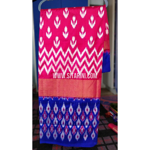 Ikkat Pattu Light Weight Sarees-Pink and Royal Blue-Sitarini-PRHIPS260