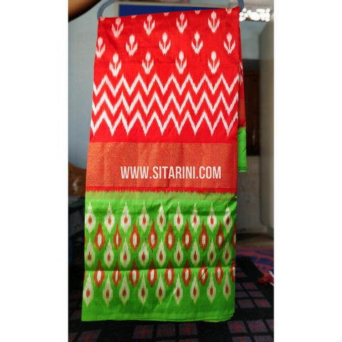 Ikkat Pattu Light Weight Sarees-Red and Green-Sitarini-PRHIPS258