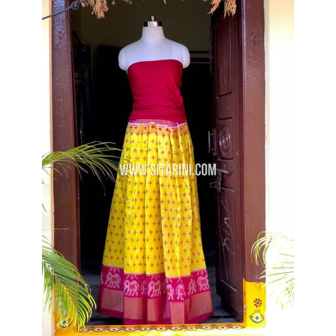 Ikkat Pattu Pavada in Dark Pink and Yellow-Sitarini-PSHIPL145
