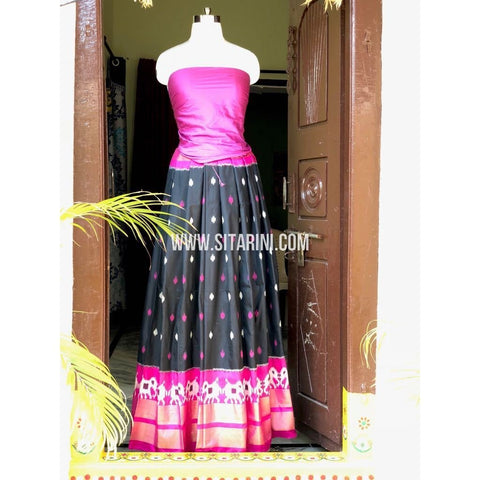 Ikkat Pattu Pavada in Light Magenta and Black-Sitarini-PSHIPL149