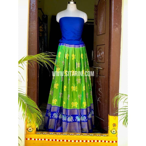 Ikkat Pattu Pavada in Royal Blue and Parrot Green-Sitarini-PSHIPL151