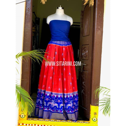 Ikkat Pattu Pavada in Royal Blue and Red-Sitarini-PSHIPL152