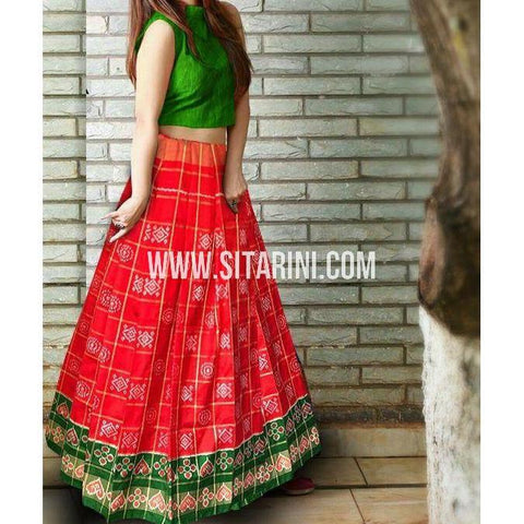 Ikkat Pattu Pavada-Red and Bottle Green-Sitarini-PSHIPL202