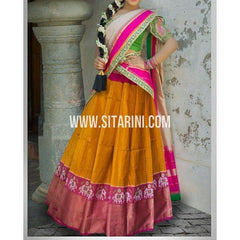 Ikkat Pattu Pavada-Yellow and Magenta-Sitarini-PSHIPL210