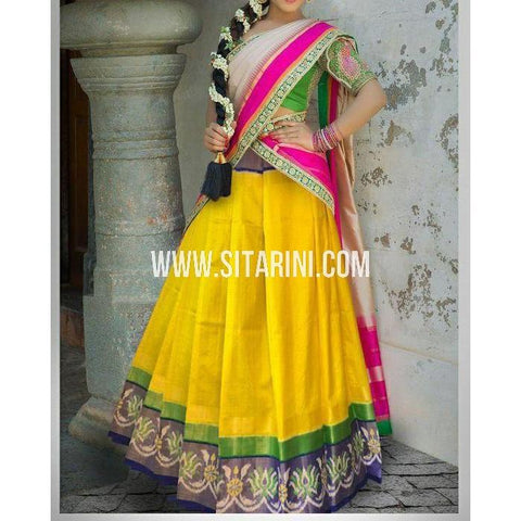 Ikkat Pattu Pavada-Yellow and Royal Blue-Sitarini-PSHIPL212