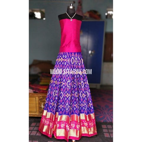 Ikkat Pattu Pavadai-Dark Pink and Royal Blue-Sitarini-PRHIPL195