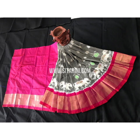 Ikkat Pattu Pavadai For Kids-Multicolor-0 to 3Years-Sitarini-SITKIL217