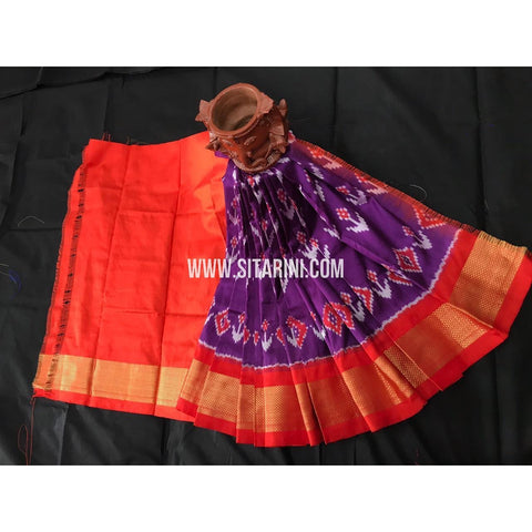 Ikkat Pattu Pavadai For Kids-Purple And Orange-0 to 3Years-Sitarini-SITKIL221