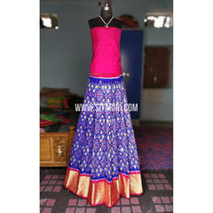 Ikkat Pattu Pavadai-Magenta and Royal Blue-Sitarini-PRHIPL188