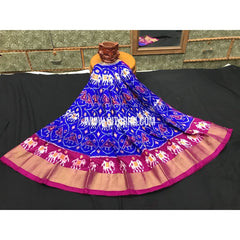 Ikkat Pattu Pavadai-Royal Blue and Magenta-3 to 8 Years-PGMHIPLK233