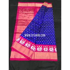 Ikkat Pattu Saree-Blue and Pink-Sitarini-PGMHIPS258