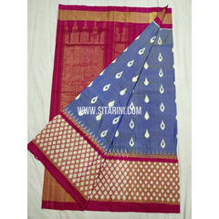 Ikkat Pattu Saree-Blue and Red-Sitarini-PSHIPS374