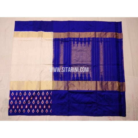 Ikkat Pattu Saree-Cream and Royal Blue-Sitarini-PVHIPS106