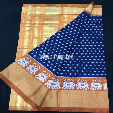 Ikkat pattu Saree-Dark Blue-Sitarini-SITIPS573