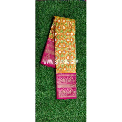 Ikkat Pattu Saree-Dark Yellow and Magenta-PRHIKPS101