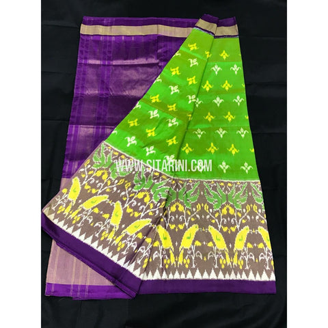 Ikkat Pattu Saree-Green and Purple-Sitarini-PGMHIPS256