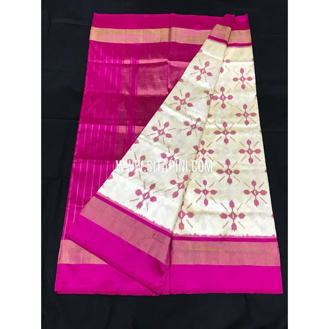 Ikkat Pattu Saree-HalfWhite and Pink-Sitarini-PGMHIPS254