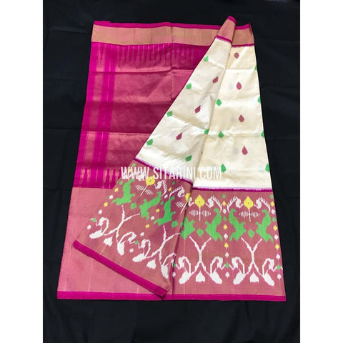Ikkat Pattu Saree-HalfWhite and Pink-Sitarini-PGMHIPS255
