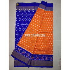 Ikkat Pattu Saree-Orange and Blue-Sitarini-SITIPS197
