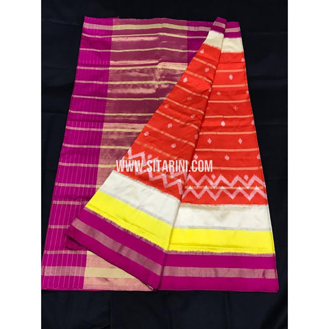 Ikkat Pattu Saree-Orange and Pink-Sitarini-PGMHIPS263