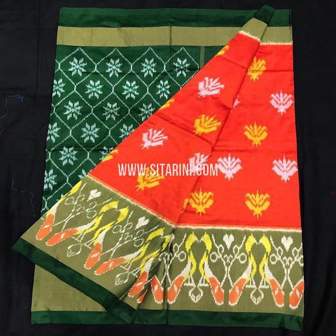 Ikkat pattu Saree-Orange-Sitarini-SITIPS569