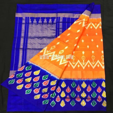 Ikkat pattu Saree-Orange-Sitarini-SITIPS570